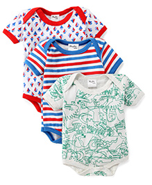 Playbeez Pack Of 3 Dinosaurs Striped & Ship Print Bodysuits - Multi Color