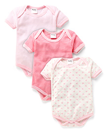 Playbeez Pack Of 3 Butterfly & Striped Print Bodysuits - Multi Color