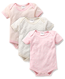 Playbeez Pack Of 3 Stars & Striped Print Bodysuits - Multi Color
