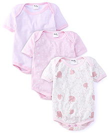 Playbeez Pack Of 3 Elephant Stars & Striped Print Bodysuit - Multi Color