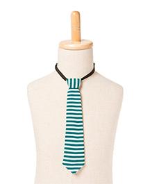 Brown Bows Stripe Tie - Green White