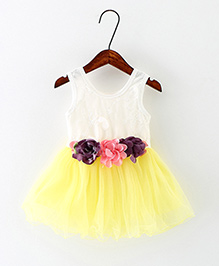 Dells World Flower Attached Sleeveless Dress - White & Yellow