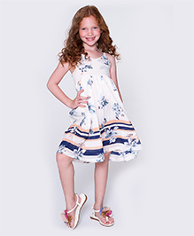 Yo Baby Floral Sleeveless Dress - Blue & White