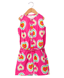 Sequences Heart Print Jumpsuit With Belt - Pink