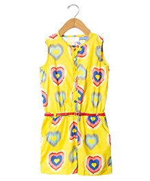 Sequences Heart Print Jumpsuit With Belt - Yellow