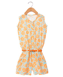 Sequences Flower Print Jumpsuit With Belt At Waist - Orange