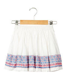 Sequences Skirt With Embroidery At Hem - White