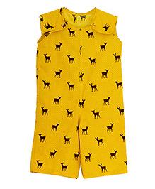 Kadambaby Sleeveless Dungaree Deer Print - Yellow