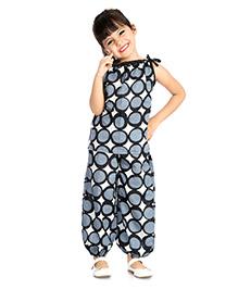 Little Pockets Store Circle Print Night Suit - Blue
