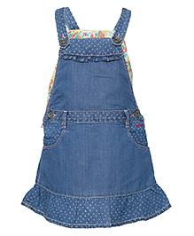 Tales & Stories Denim Dungaree Style Dress - Light Blue