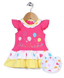 Wonderchild Hello Balloon Print Frock & Bloomer Set - Pink