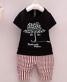 Pre Order : Lil Mantra Printed Stripes Tee & Pant Set - Black & Red