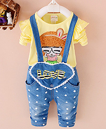 Pre Order : Lil Mantra Cute Girl Dungaree & Tee Set - Yellow & Blue