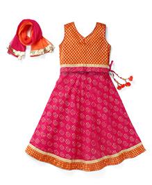 Exclusive From Jaipur Sleeveless Chaniya Choli And Dupatta Set - Orange Pink