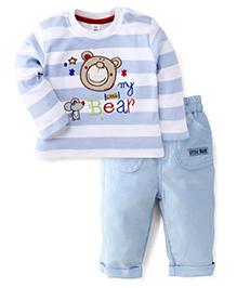 ToffyHouse Full Sleeves T-Shirt & Pants My Little Bear Print - Light Blue