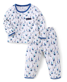 ToffyHouse Full Sleeves Night Suit Rabbit And Ship Print - Blue White