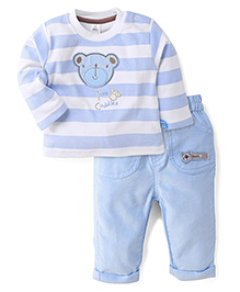 ToffyHouse Full Sleeves T-Shirt & Pants Love Cuddles Print - Blue