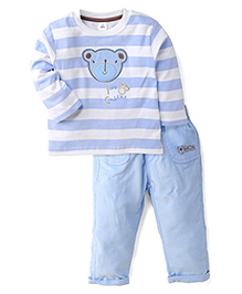 ToffyHouse Full Sleeves T-Shirt & Pants Love Cuddles Print - Blue