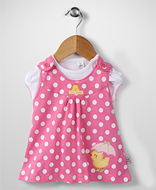 ToffyHouse Dotted Frock With Inner Tee - Pink & White