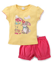 ToffyHouse Short Sleeves Top With Bunny Print And Corduroy Shorts Set - Yellow & Pink