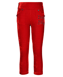 Cutecumber Fitted Leggings With Two Side Pockets & Rhinestones Embellished - Red