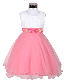 The KidShop Sequined Party Dress With Glitter Flower Embelishment - White
