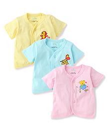 Babyhug Half Sleeves Multi Print Jhablas Set Of 3 - Yellow Pink Cyan