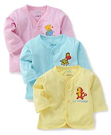 Babyhug Full Sleeves Multi Print Jhablas Set Of 3 - Cyan Pink Yellow