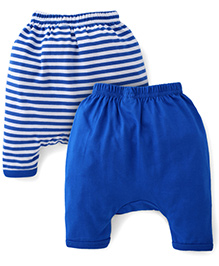 Babyhug Solid And Striped Diaper Leggings Set Of 2 - Royal Blue
