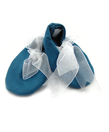 Tiny Toddler Booties With Ribbon - Blue