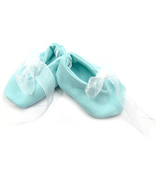 Tiny Toddler Booties With Ribbon - Green