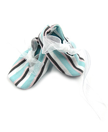 Tiny Toddler Striped Booties With Tissue Ribbon - Multicolour
