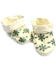 Tiny Toddler Shimmer Fancy Bootie Shoes - Cream