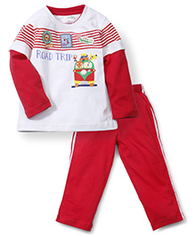 Babyhug Full Sleeves T-Shirt & Track Pant - White Red