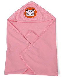 Babyhug Soft Towel With Embroidery Detail - Pink