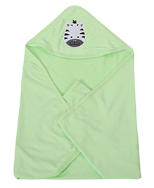 Babyhug Hooded Printed Towel - Lime Green