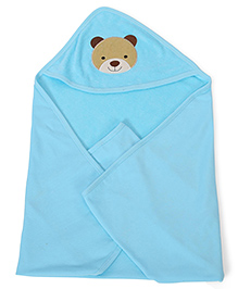 Babyhug Soft Towel With Embroidery Detail - Blue