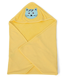 Babyhug Soft Towel With Embroidery Detail - Yellow