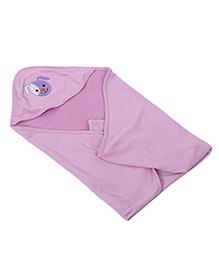 Babyhug Hooded Towel Embroidery Detail - Purple