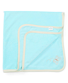 Babyhug Towel Butterfly Embroidery - Sea Green
