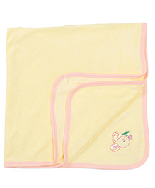 Babyhug Towel Bunny Embroidery - Lemon Yellow