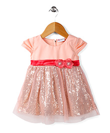 Peppermint Cap Sleeves Party Wear Frock Floral Applique - Peach