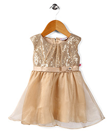 Peppermint Sleeveless Party Frock Bow Applique - Beige