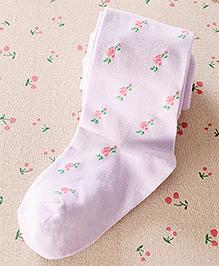 Aakriti Creations Floral Print Weaved Stocking - Purple