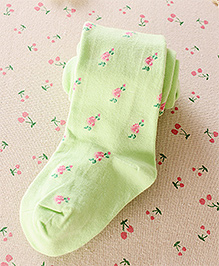 Aakriti Creations Floral Print Weaved Stocking - Green