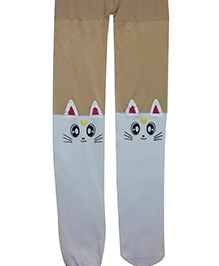 Aakriti Creations Stockings With A Cute Cat On The Knees - White