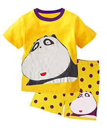 Pre Order : Superfie Big Panda Print T-Shirt & Shorts Set - Yellow