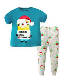 Pre Order : Superfie Santa Print T-Shirt & Pant Set - Blue