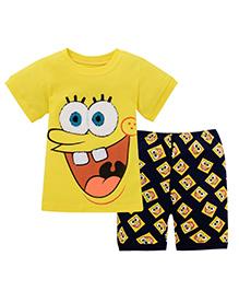 Pre Order : Superfie Big Smile Print T-Shirt & Shorts Set - Yellow