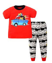 Pre Order : Superfie Car Print T-Shirt & Pant Set - Red